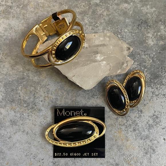NOS Monet Enamel Gold Bracelet Earring Set